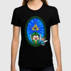 Gravity Falls: Hyrule Falls SMALL Black Womens Fitted Tee