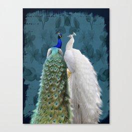 White Peacock and Blue Peacock Bird A732 Canvas Print