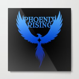 PHOENIX RISING blue on black with star center Metal Print