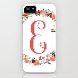 Personal monogram letter 'E' flower wreath iPhone Case