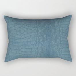 Turquoise Alligator Leather Print Rectangular Pillow