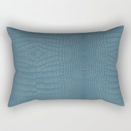 Turquoise Alligator Leather Print Rectangular Pillow