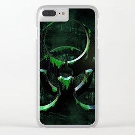 Green Grunge Biohazard Symbol Clear iPhone Case