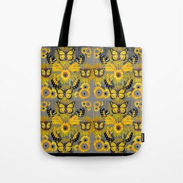 CONTEMPORARY MONARCH BUTTERFLY SUNFLOWERS MONTAGE Tote Bag