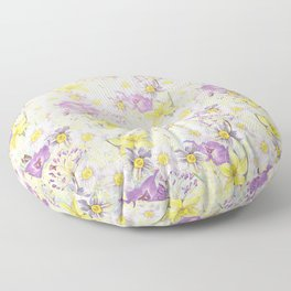 Vintage pattern- Spring in purple and yellow- daffodils and anemones Floor Pillow