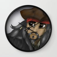jack sparrow Wall Clocks featuring Captain Jack Sparrow by BellaG