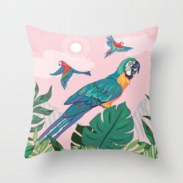 Treetop Parrots Throw Pillow