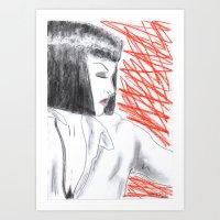 mia wallace Art Prints featuring Mia Wallace by Natália Damião
