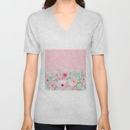 Modern Pink Glitter Ombre Floral Watercolor Paint Unisex V-Neck