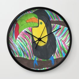 Colorful Tropical Toucan Wall Clock