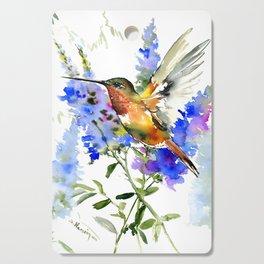 Alen's Hummingbird and Blue Flowers, floral bird design birds, watercolor floral bird art Cutting Board
