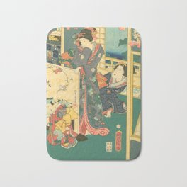 Spring Outing In A Villa Diptych #2 by Toyohara Kunichika Bath Mat