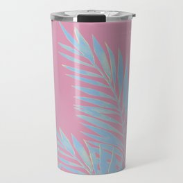 Palm Leaves Blue And Pink Travel Mug