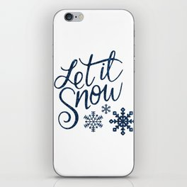 Let It Snow Blue Glitter Typography Winter iPhone Skin