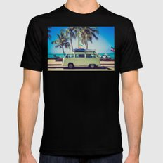 VW Bus Beach Vacation Black MEDIUM Mens Fitted Tee