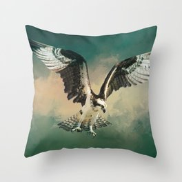 Osprey In Flight Throw Pillow