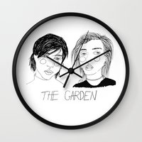 cactei Wall Clocks featuring The Garden by ☿ cactei ☿