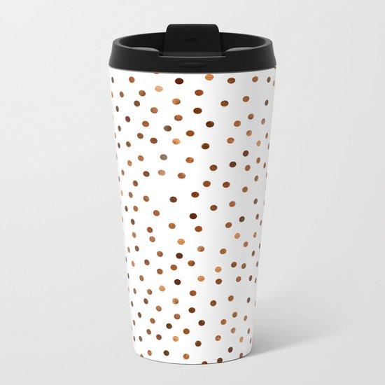 Copper Dots Pattern Metal Travel Mug
