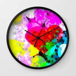 red heart shape pattern with colorful painting abstract in pink blue green yellow Wall Clock