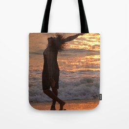 Dancing in the Surf at Sunset Tote Bag