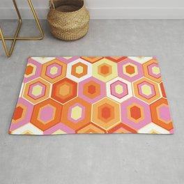 Pink, Orange, Yellow and White Hexagon Geometric Retro Pattern Rug