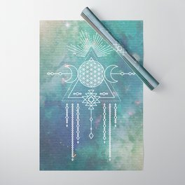 Mandala Flower of Life in Turquoise Stars Wrapping Paper