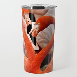 Flamingo Birds making a Heart Shape Travel Mug
