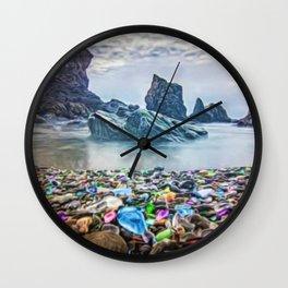 MacKerricher Bottle Sea Glass Beach, California Portrait Wall Clock