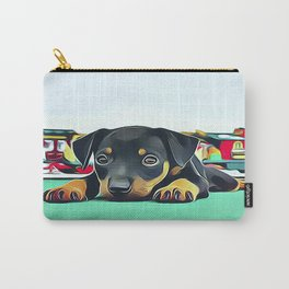 Doberman Puppy Guarding the Model Railroad Carry-All Pouch