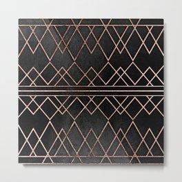 Chic & Elegant Faux Rose Gold Geometric Triangles Metal Print