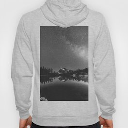 Summer Stars Black and White - Galaxy Mountain Reflection Hoody