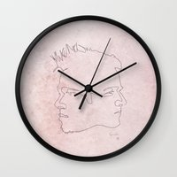 quibe Wall Clocks featuring One line Fight Club by quibe