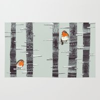 feathers Area & Throw Rugs featuring Robin Trees by Sandra Dieckmann