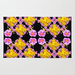 Black Roce & Yellow Color Pattern Floral Rug