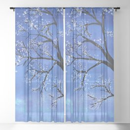 Tree in bloom Sheer Curtain