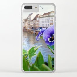 Alsace blue flowers Clear iPhone Case
