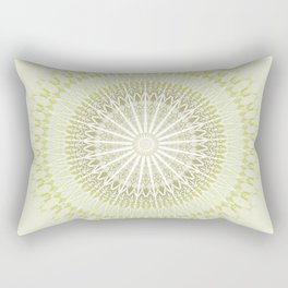 Olive Green White Mandala Rectangular Pillow