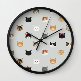 Cat heads cute pet gifts cat lover cat person must haves cat breeds Wall Clock