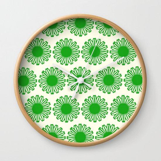 vintage flowers green Wall Clock