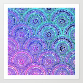 Aqua Blue Purple and Pink Sparkling Glitter Circles Art Print