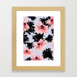 BLACK FLOWERS FLY Framed Art Print