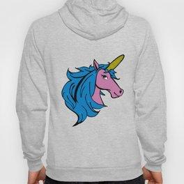 Cartoon Unicorn on the Cob - Blue Cornstalk pun Hoody