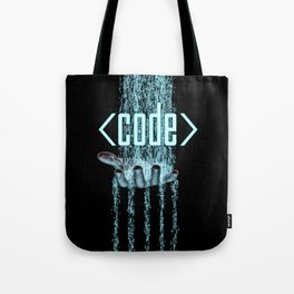 Code / 3D render of binary data flowing on to human hand Tote Bag