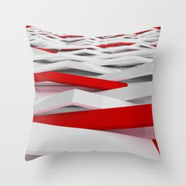 White plastic waves with red elements Throw Pillow