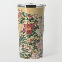 Vintage Flowers Azalea Japanese Painting Travel Mug