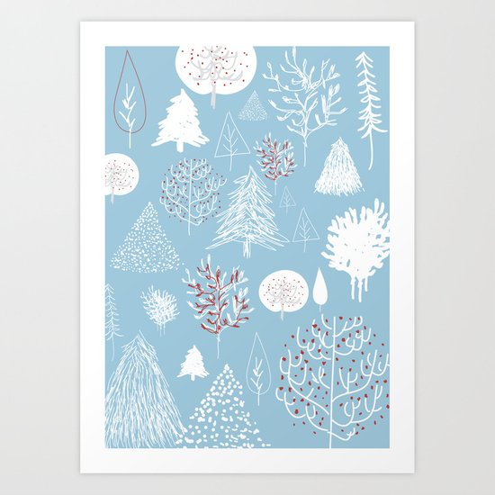 Christmas forest Art Print