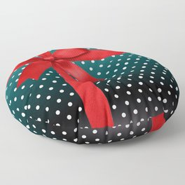 Green Present Box with Red Ribbon Floor Pillow