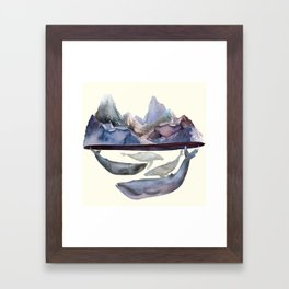 Mountains and Whales Framed Art Print