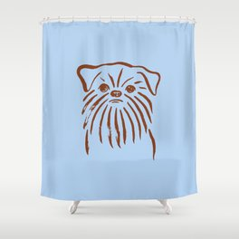 Brussels Griffon (Blue and Brown) Shower Curtain