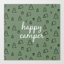 Happy Camper in Fern Green Canvas Print